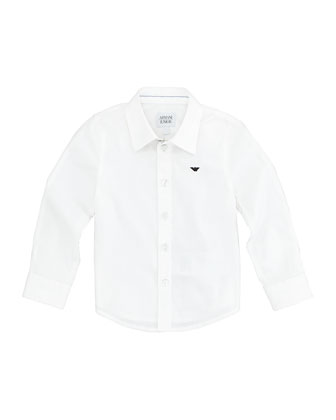 Stretch-Poplin Button-Down Shirt, White Wash, 2Y-8Y