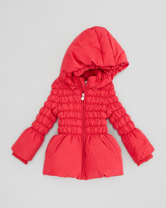 Cinched Puffer Jacket, Red, 3-24 Months