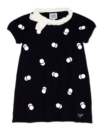 Polka-Dot Short-Sleeve Dress, Blue, Sizes 2-8