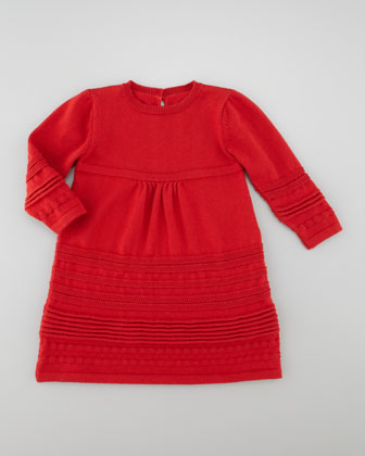 Knitted Long-Sleeve Dress, Red
