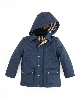 Quilted Nylon Coat, Navy, 4Y-10Y