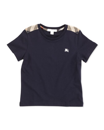 Boys' Check-Shoulder Tee, Navy, 4Y-10Y