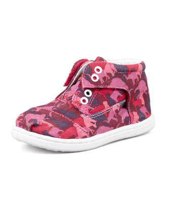 Tiny Animal-Camo-Print Botas Shoe, Pink
