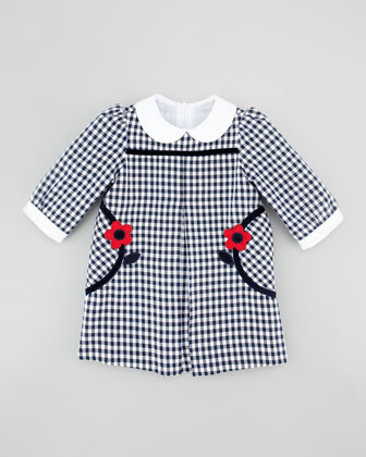 Flower-Pocket Gingham Dress, Navy/White, 3-9 months