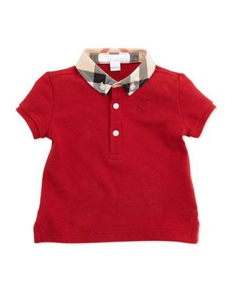 Mini Pique Polo Shirt, Red