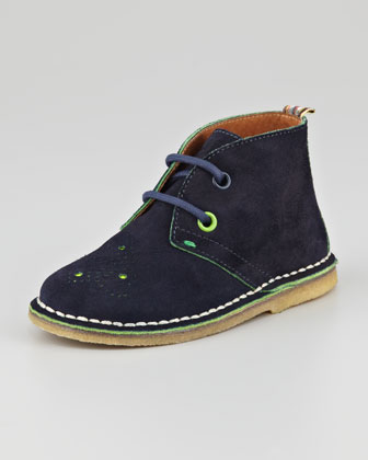 Boys' Brogue-Detail Suede Chukka Boot, Midnight Blue