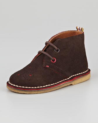 Brogue-Detail Suede Chukka Boot, Brown