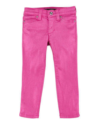 Girl's Stretch Glitter Denim Leggings, Wild Orchid, Sizes 8-10