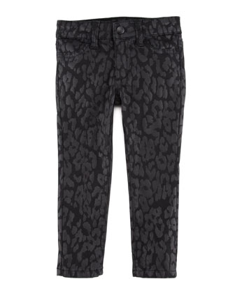 Girl's Stretch Leopard-Print Denim Leggings, Black, Sizes 8-10