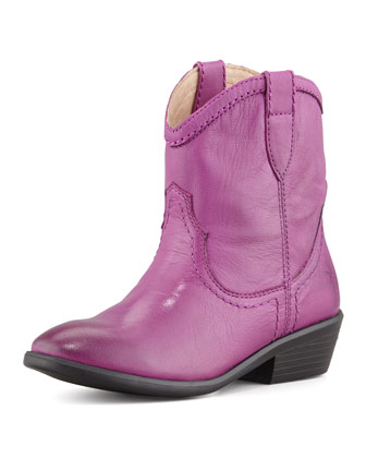 Carson Shortie Leather Boot, Berry