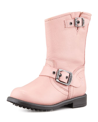 Engineer Double-Buckle Boot, Pink