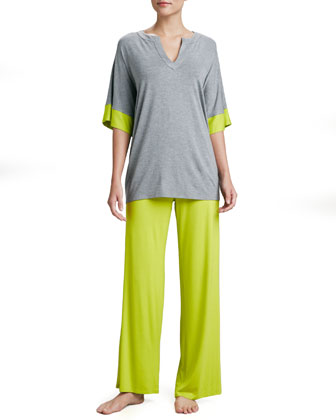 Esen Wide-Leg Jersey Pants, Lime