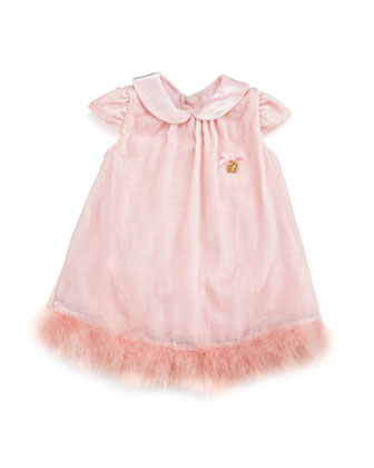 Velvet Dress with Marabou Hem, Pink, 3-9 Months