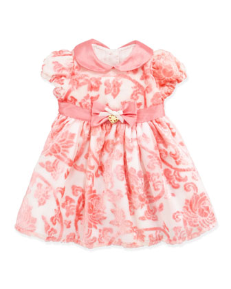 Flocked Velvet Dress, Pink, 3-9 Months