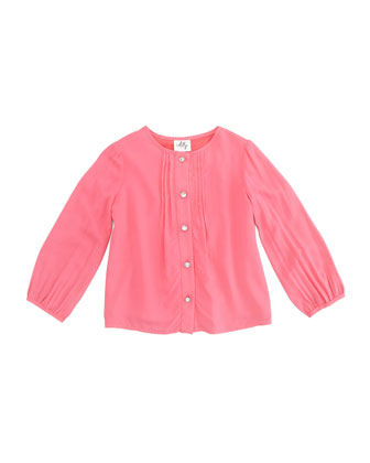 Long-Sleeve Pintuck Blouse, Coral, Sizes 8-10