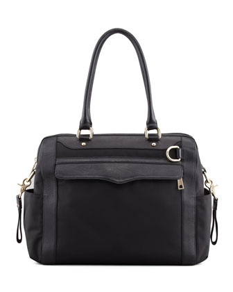 Knocked Up Nylon Diaper Bag, Black