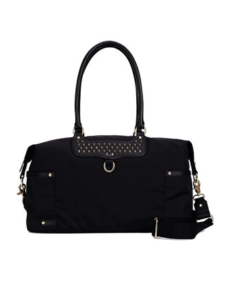 Kendra Nylon Diaper Bag, Black