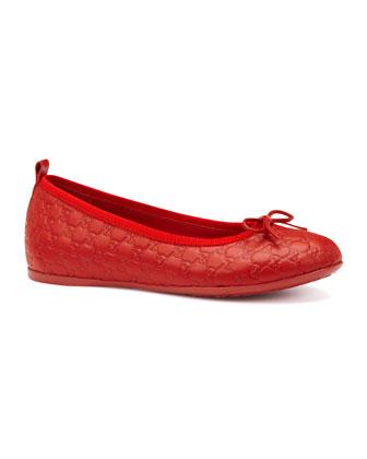 Ali Guccissima Ballerina Flat, Red