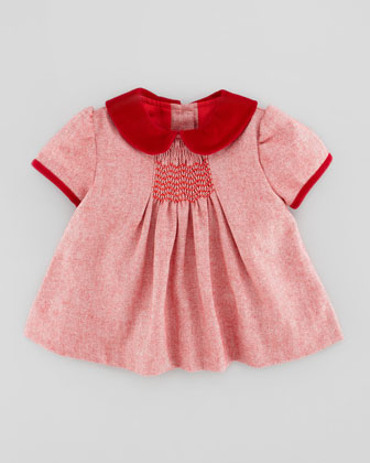 Evie Twill-Weave Top & Ruffle Bloomers, Red