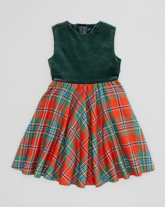 Girls' Velvet & Plaid Dress, Red, 4Y-10Y