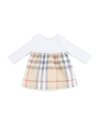Infant Girls' Check Long-Sleeve Dress, Cream, 3-18 Months