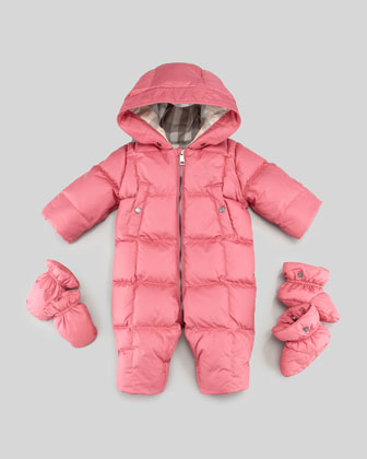 Skylar Down/Feather Puffer Snowsuit, Pink, 3-18 Months