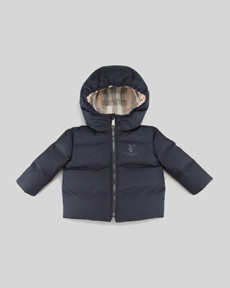 Quilted Puffer Coat, Navy, 3-18 Months