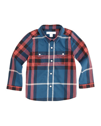 Infant Boys' Check Shirt, Medium Blue, 2T-3T