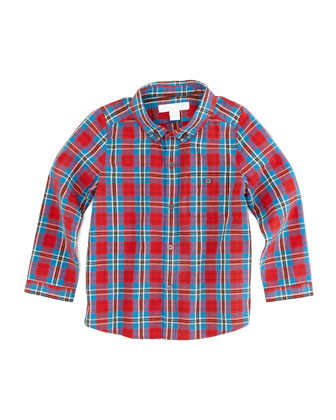 Boys' Plaid Button-Down Shirt, Red, Sizes 2T-3T