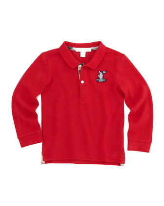 Long-Sleeve Polo, Red, Sizes 2T-3T