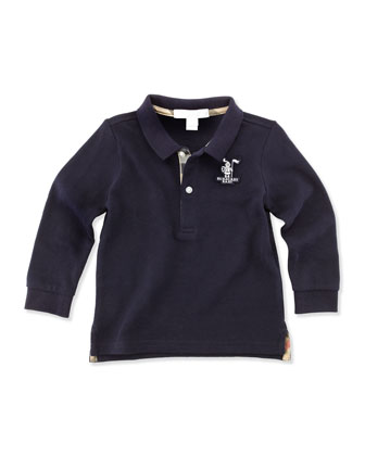 Long-Sleeve Polo, Navy, 12M-18M