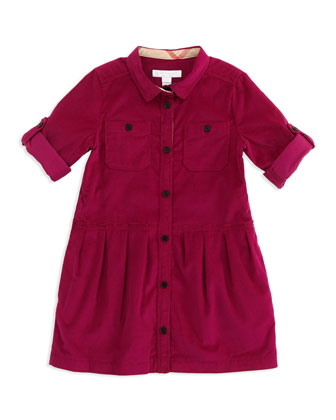 Corduroy Shirtdress, Pink, 4Y-10Y