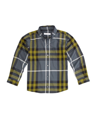 Long-Sleeve Patch-Pocket Check Shirt, Dark Gray