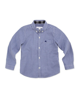 Boys' Gingham-Check Shirt, Blue, 4Y-10Y