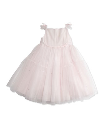 Girls' Flutter-Sleeve Tulle Dress, Pink, 8-10
