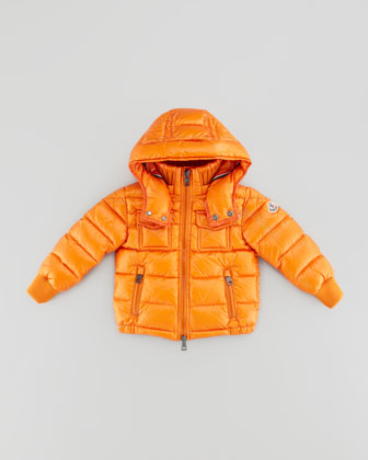 Boys' Hooded Ski Jacket, Orange, Sizes 2-6