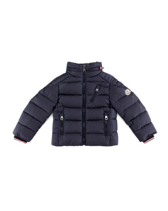 Quilted Nylon Down Biker Jacket, Navy