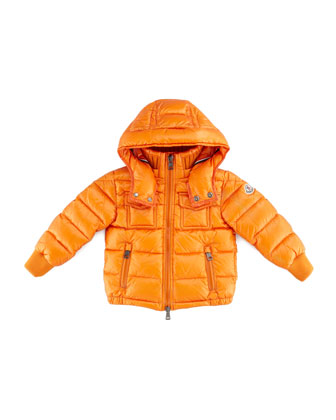 Boys' Hooded Ski Jacket, Orange, Sizes 8-10