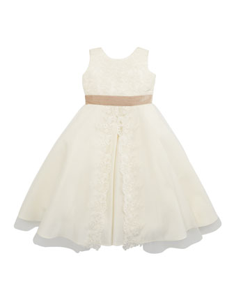 Satin & Sequins Dress, Ivory, Sizes 2-10