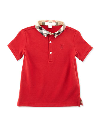 Mini William Check-Collar Short-Sleeve Polo, Red, 2T-3T