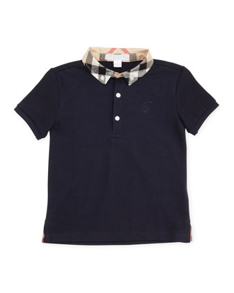 Mini William Check-Collar Polo, Navy, 2T-3T