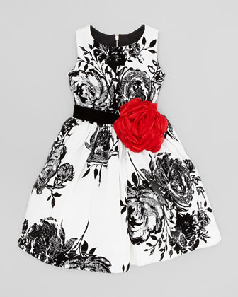 Flocked-Rose Party Dress, White/Black