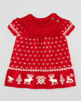 Short-Sleeve Reindeer Dress, Red, 3-9 Months