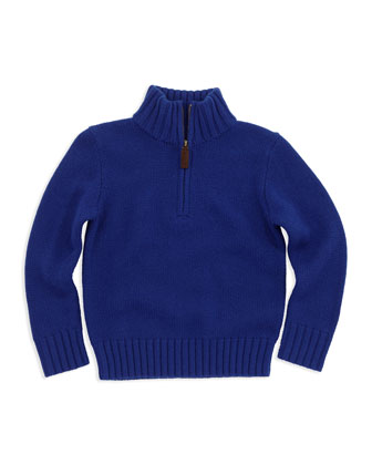Half-Zip Cashmere Pullover, Blue, Sizes 4-7
