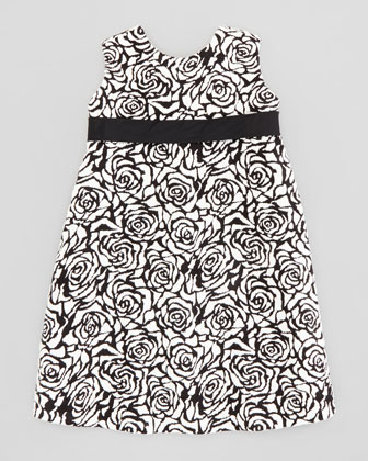 Rose Jacquard Shift Dress, Black/Ivory, Sizes 4-6X