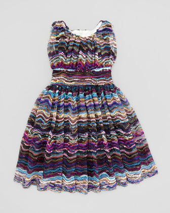 Waves Lace Dress, Blue, 2T-3T