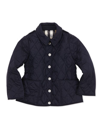 Lightweight Quilted Nylon Jacket, Navy, 4Y-10Y