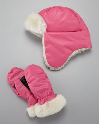 Nylon Trapper-Hat & Mitten Set, Pink