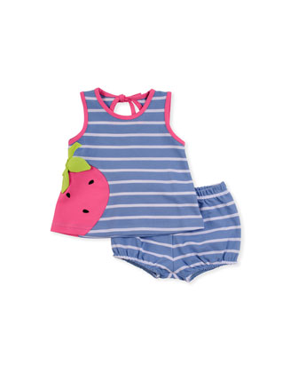Strawberry Knit Dress & Bloomers Set, Blue, 3-9 Months