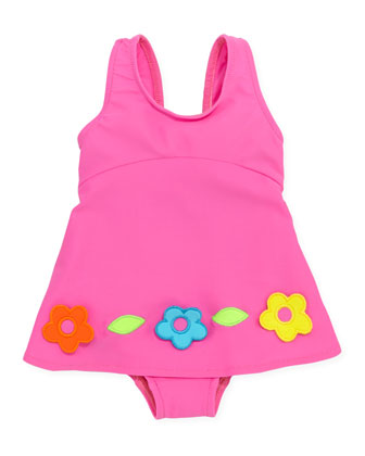 Flower One-Piece Swimsuit, Pink, 6-9 Months